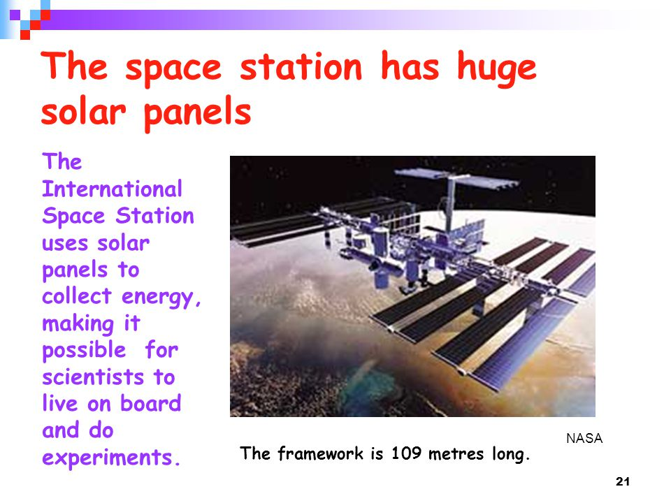 The space station has huge solar panels