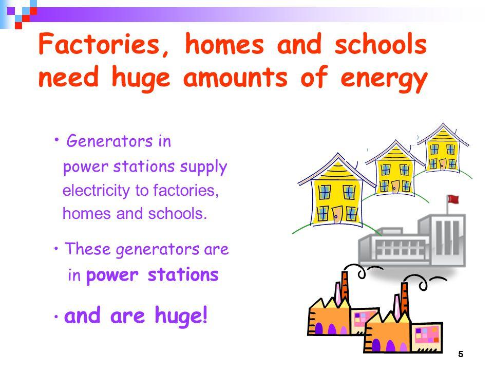 Factories, homes and schools need huge amounts of energy