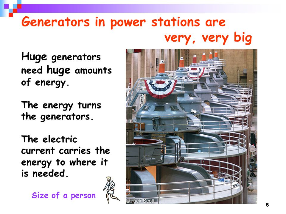 Generators in power stations are very, very big