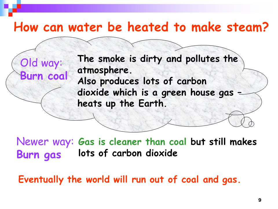 How can water be heated to make steam