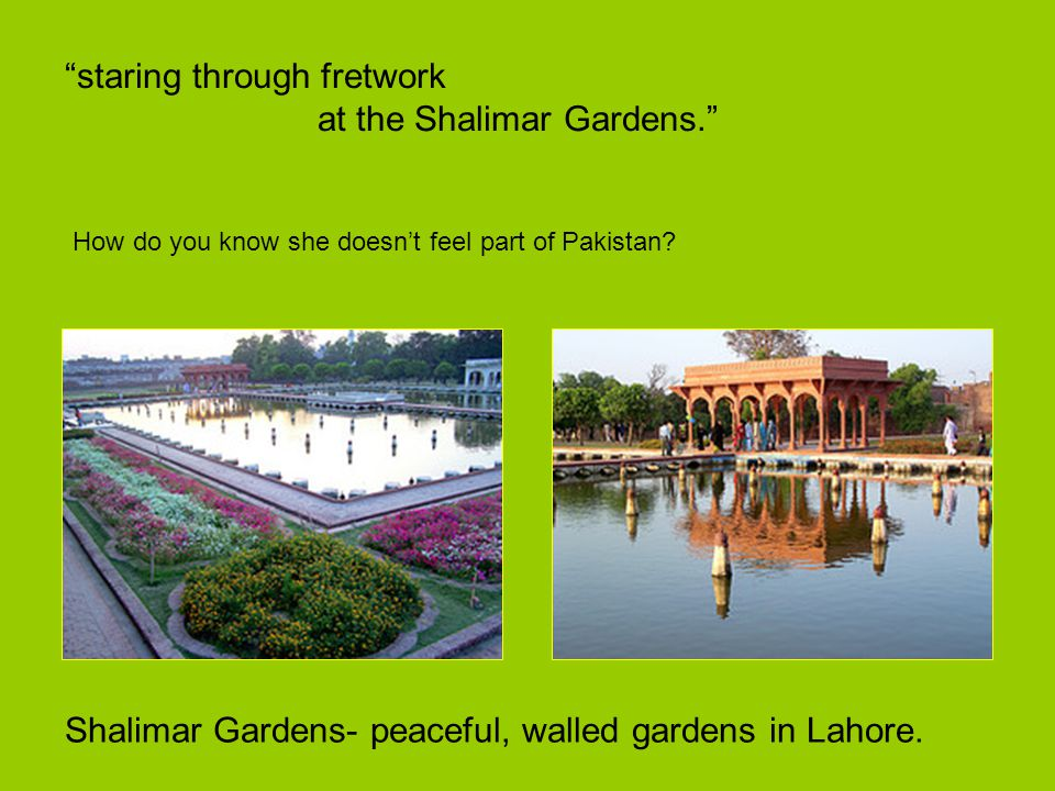 staring through fretwork at the Shalimar Gardens.