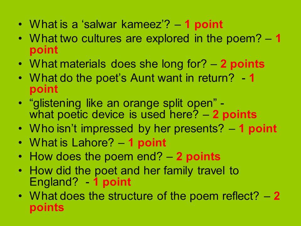What is a 'salwar kameez' – 1 point