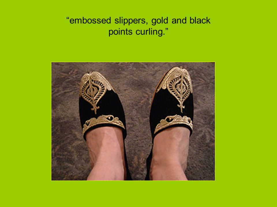 embossed slippers, gold and black points curling.