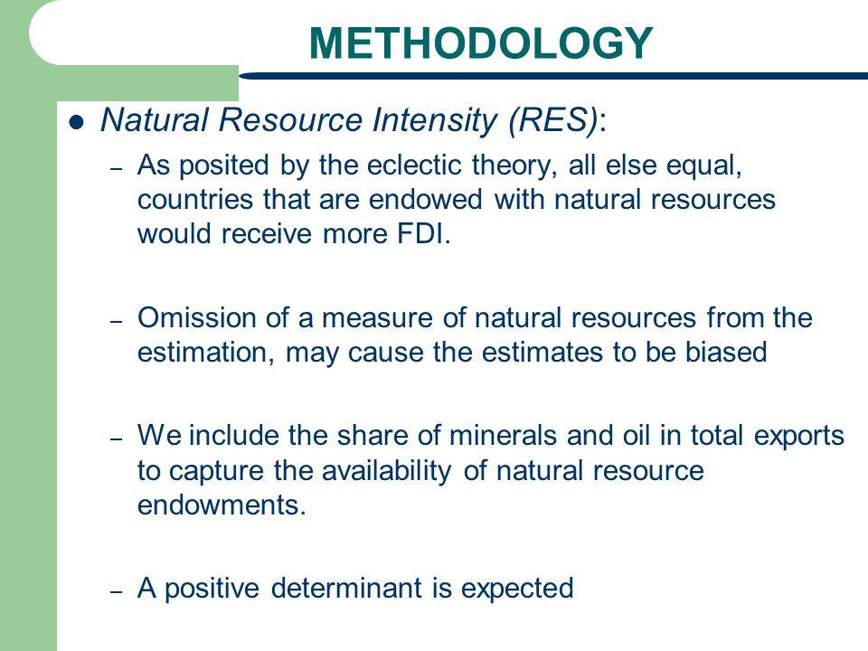 METHODOLOGY Natural Resource Intensity (RES):