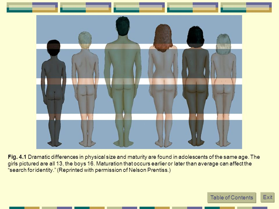 Fig. 4.1 Dramatic differences in physical size and maturity are found in adolescents of the same age. The girls pictured are all 13, the boys 16. Maturation that occurs earlier or later than average can affect the search for identity. (Reprinted with permission of Nelson Prentiss.)