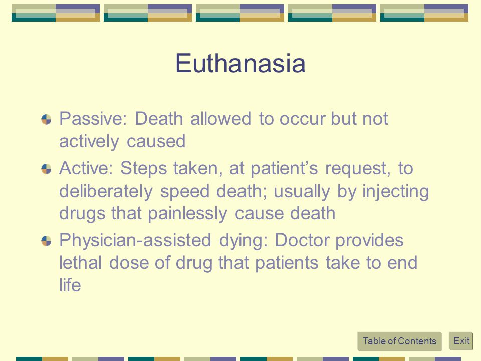Euthanasia Passive: Death allowed to occur but not actively caused