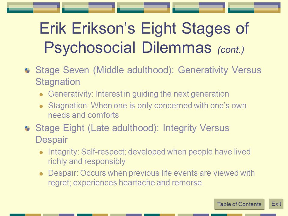 Erik Erikson's Eight Stages of Psychosocial Dilemmas (cont.)