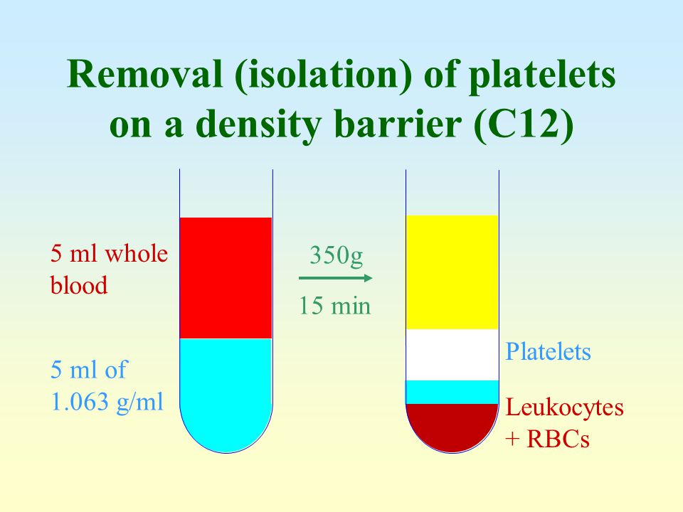 Removal (isolation) of platelets on a density barrier (C12)
