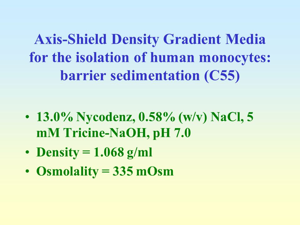 Axis-Shield Density Gradient Media for the isolation of human monocytes: barrier sedimentation (C55)