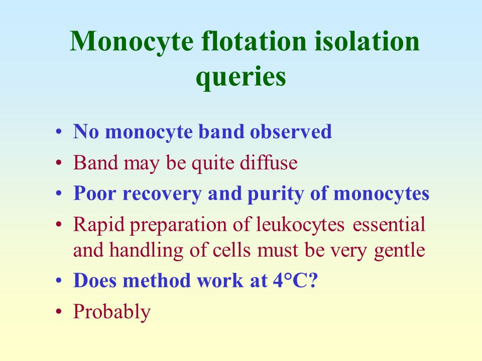 Monocyte flotation isolation queries