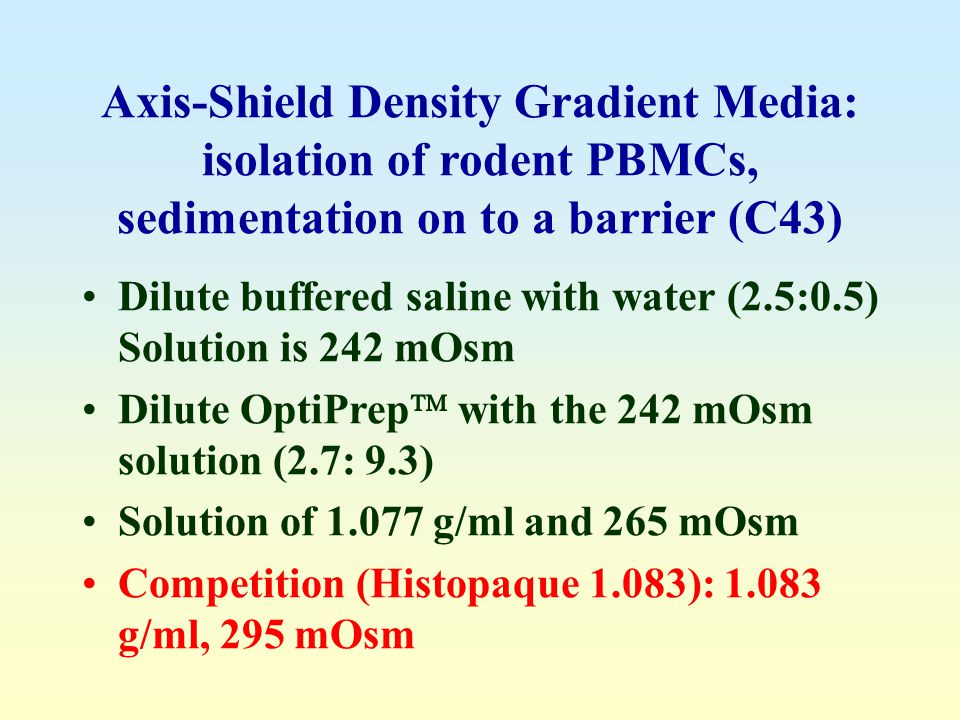 Axis-Shield Density Gradient Media: isolation of rodent PBMCs, sedimentation on to a barrier (C43)