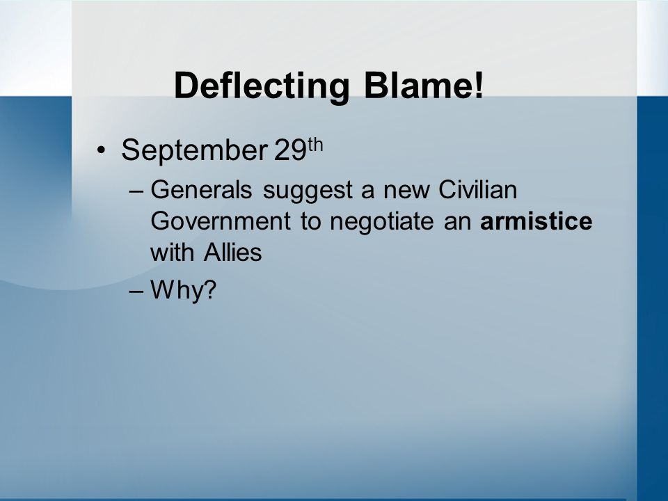 Deflecting Blame! September 29th