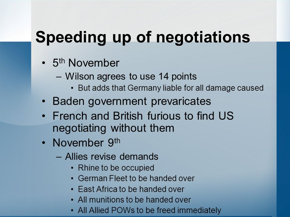Speeding up of negotiations