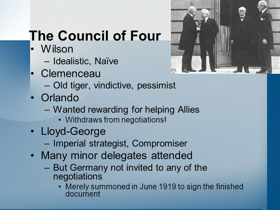 The Council of Four Wilson Clemenceau Orlando Lloyd-George