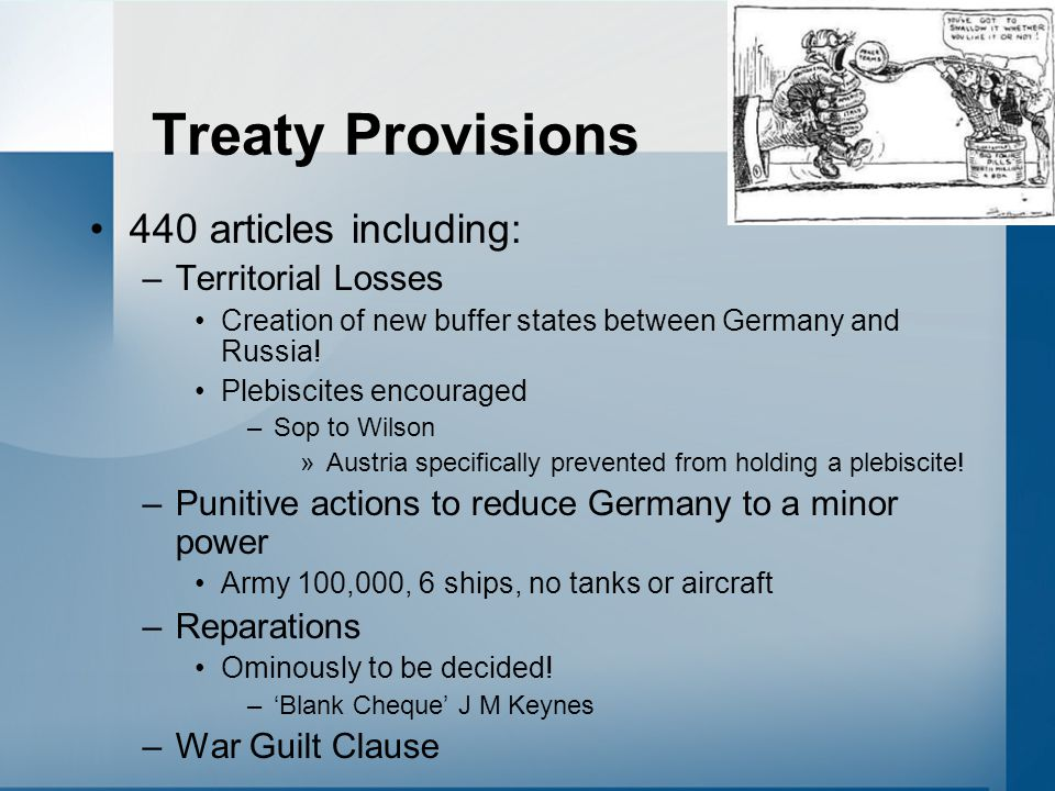 Treaty Provisions 440 articles including: Territorial Losses