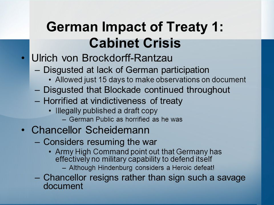 German Impact of Treaty 1: Cabinet Crisis