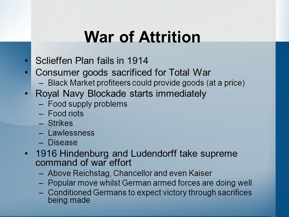 War of Attrition Sclieffen Plan fails in 1914