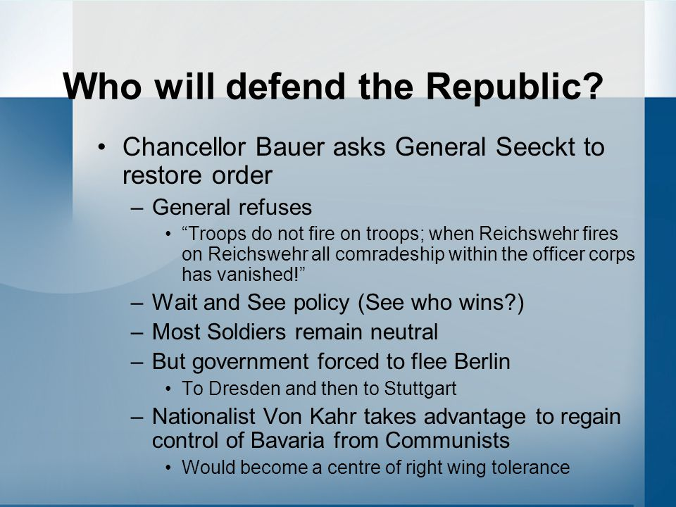 Who will defend the Republic