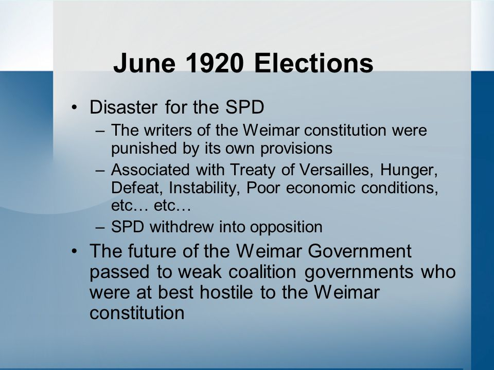 June 1920 Elections Disaster for the SPD