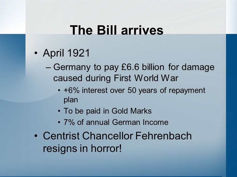 The Bill arrives April 1921. Germany to pay £6.6 billion for damage caused during First World War.
