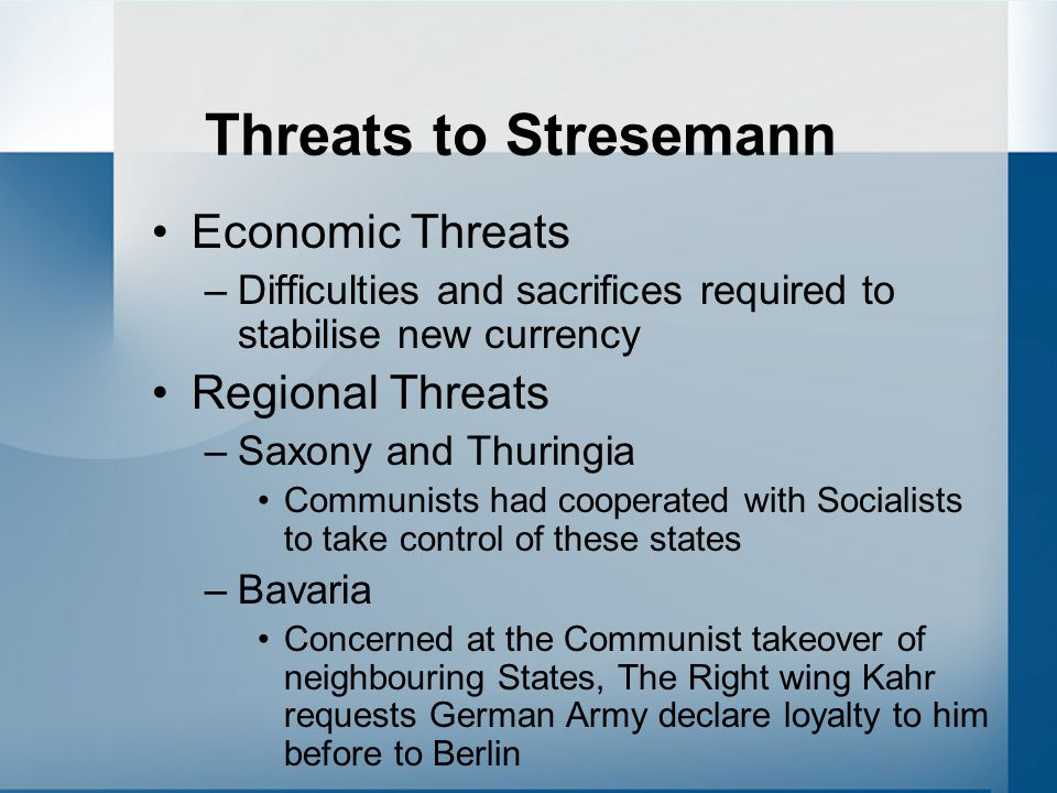 Threats to Stresemann Economic Threats Regional Threats
