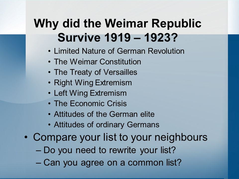 Why did the Weimar Republic Survive 1919 – 1923