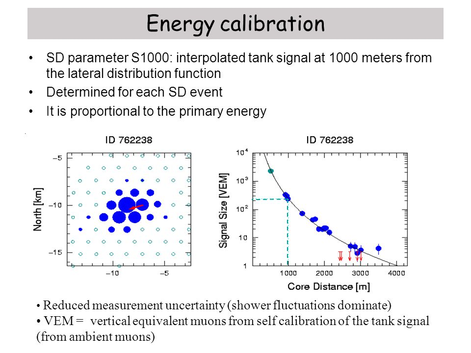 Energy calibration SD parameter S1000: interpolated tank signal at 1000 meters from the lateral distribution function.