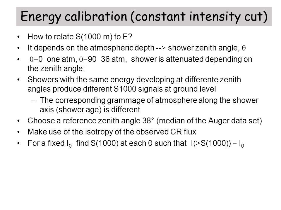Energy calibration (constant intensity cut)