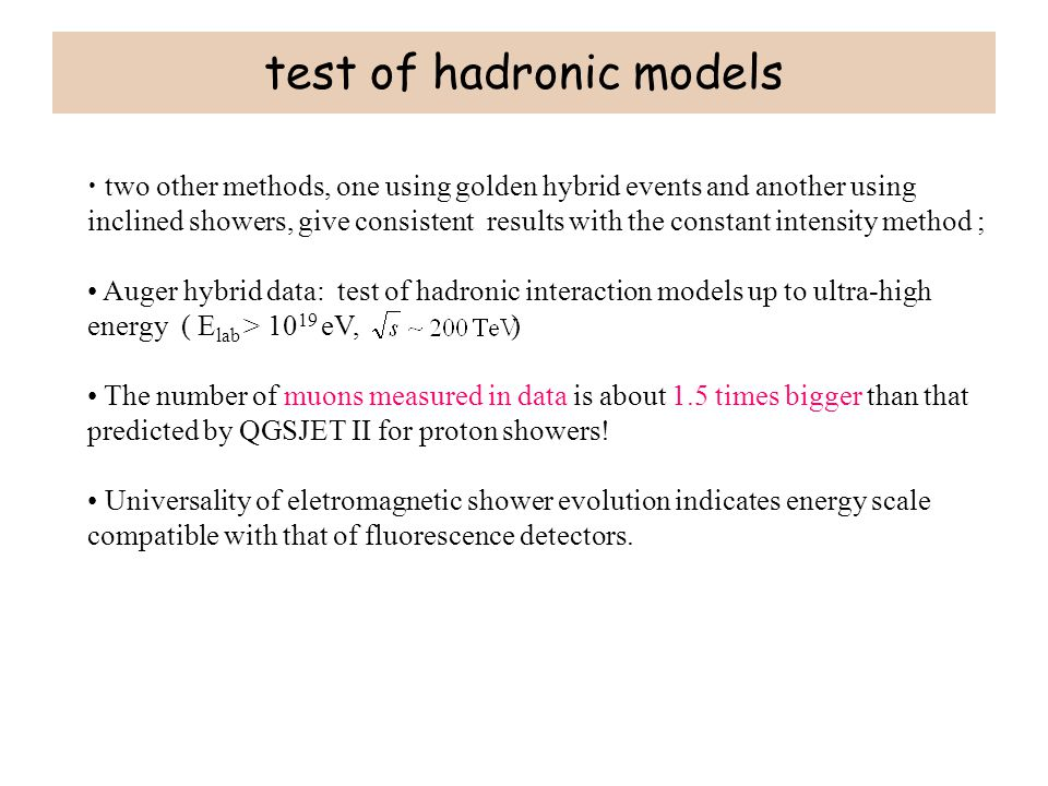 test of hadronic models