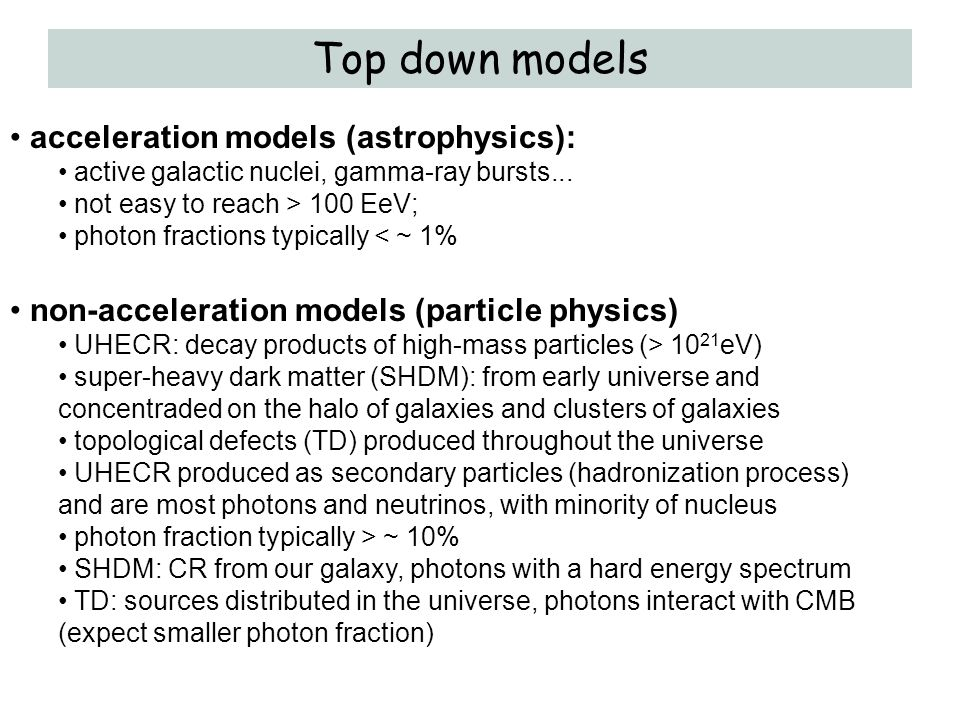 Top down models acceleration models (astrophysics):