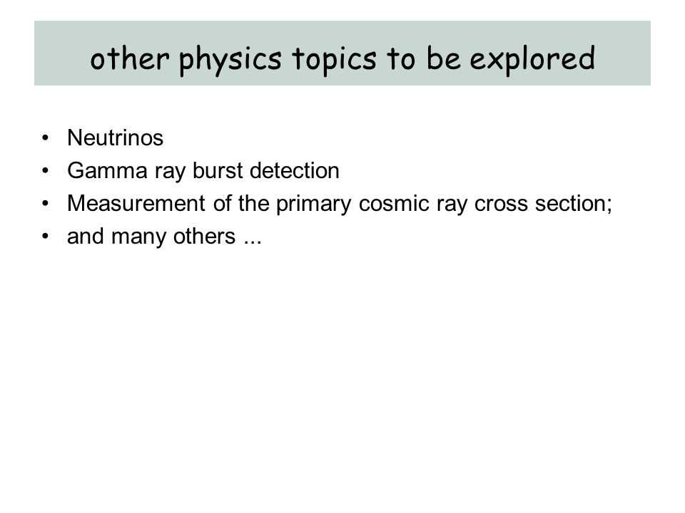 other physics topics to be explored