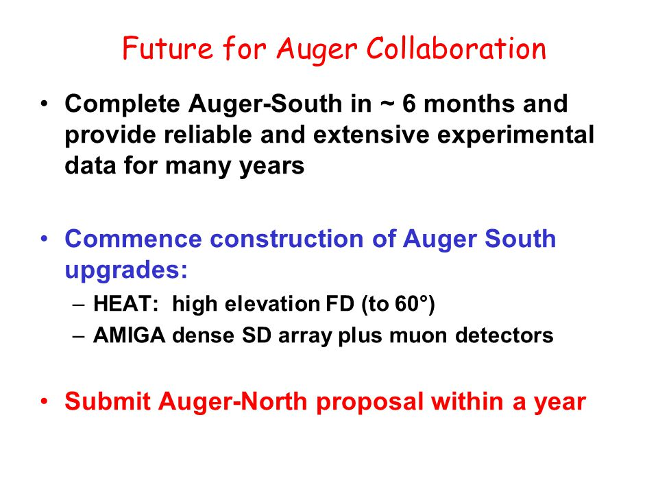 Future for Auger Collaboration