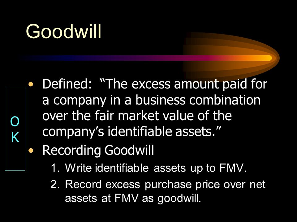 Goodwill Defined: The excess amount paid for a company in a business combination over the fair market value of the company's identifiable assets.