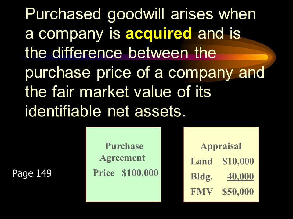 Purchased goodwill arises when a company is acquired and is the difference between the purchase price of a company and the fair market value of its identifiable net assets.