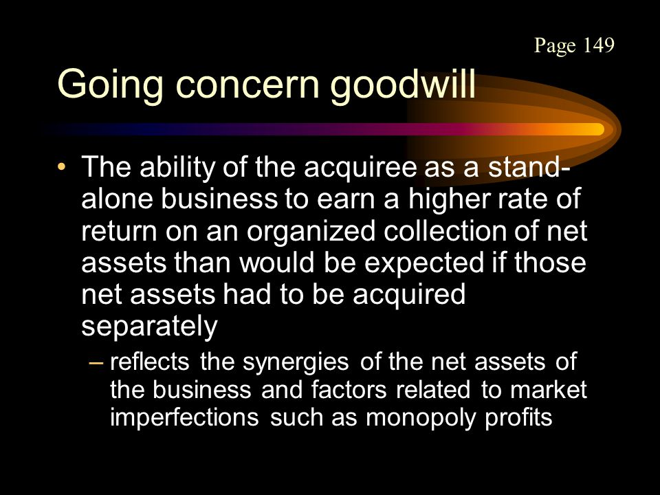 Going concern goodwill