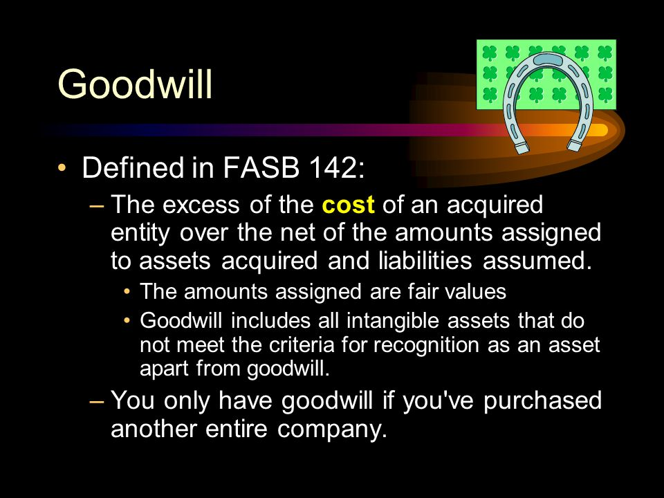 Goodwill Defined in FASB 142: