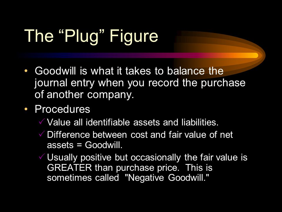 The Plug Figure Goodwill is what it takes to balance the journal entry when you record the purchase of another company.