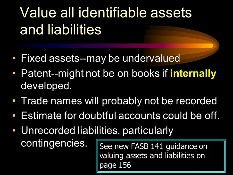 Value all identifiable assets and liabilities