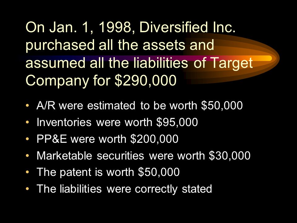 On Jan. 1, 1998, Diversified Inc. purchased all the assets and assumed all the liabilities of Target Company for $290,000