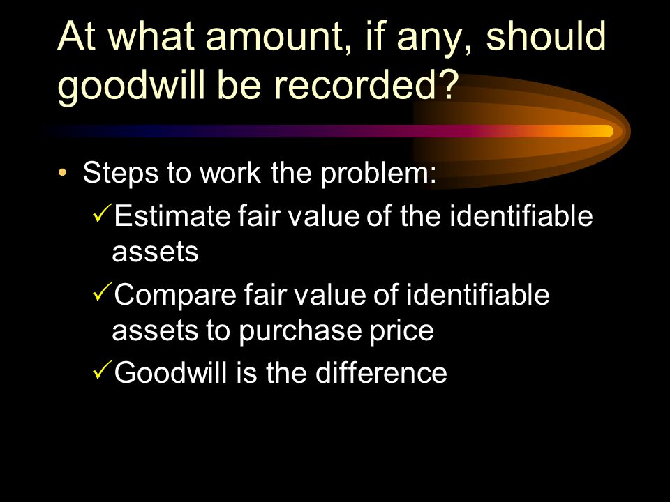 At what amount, if any, should goodwill be recorded
