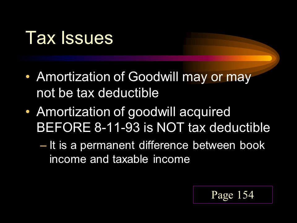 Tax Issues Amortization of Goodwill may or may not be tax deductible