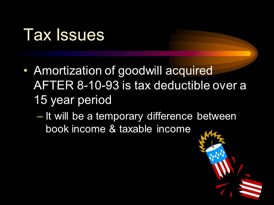 Tax Issues Amortization of goodwill acquired AFTER 8-10-93 is tax deductible over a 15 year period.