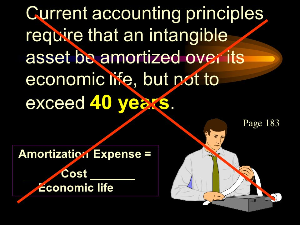 Current accounting principles require that an intangible asset be amortized over its economic life, but not to exceed 40 years.