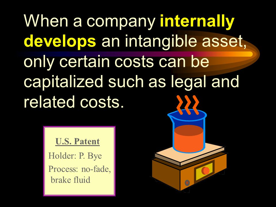 When a company internally develops an intangible asset, only certain costs can be capitalized such as legal and related costs.