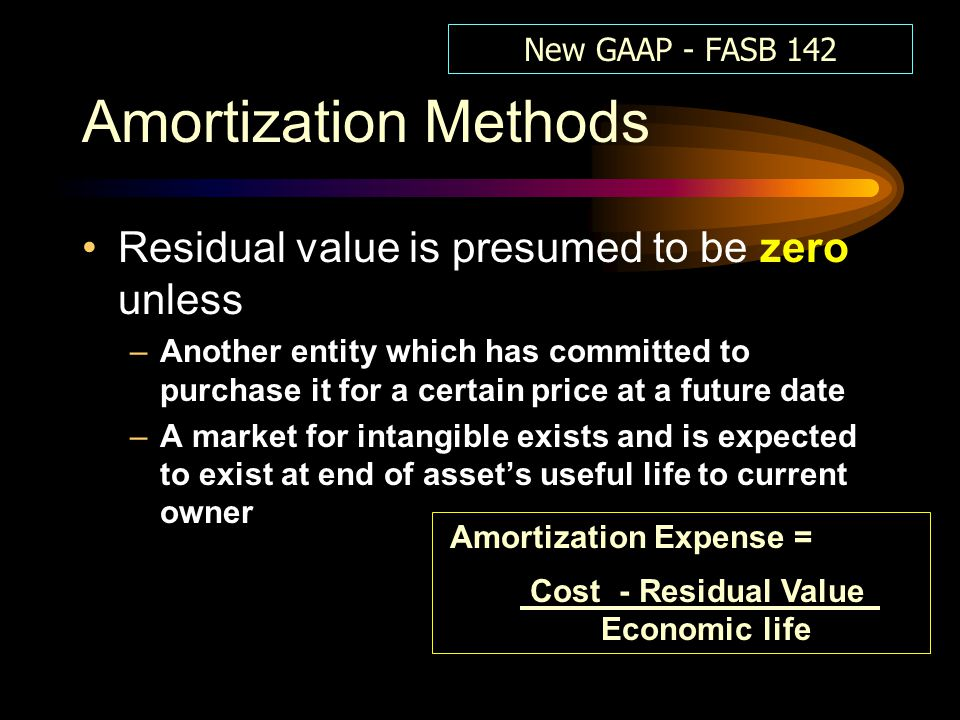 Amortization Methods Residual value is presumed to be zero unless