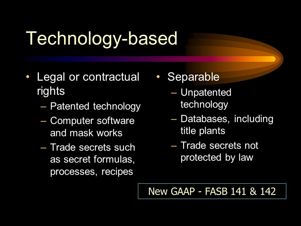 Technology-based Legal or contractual rights Separable