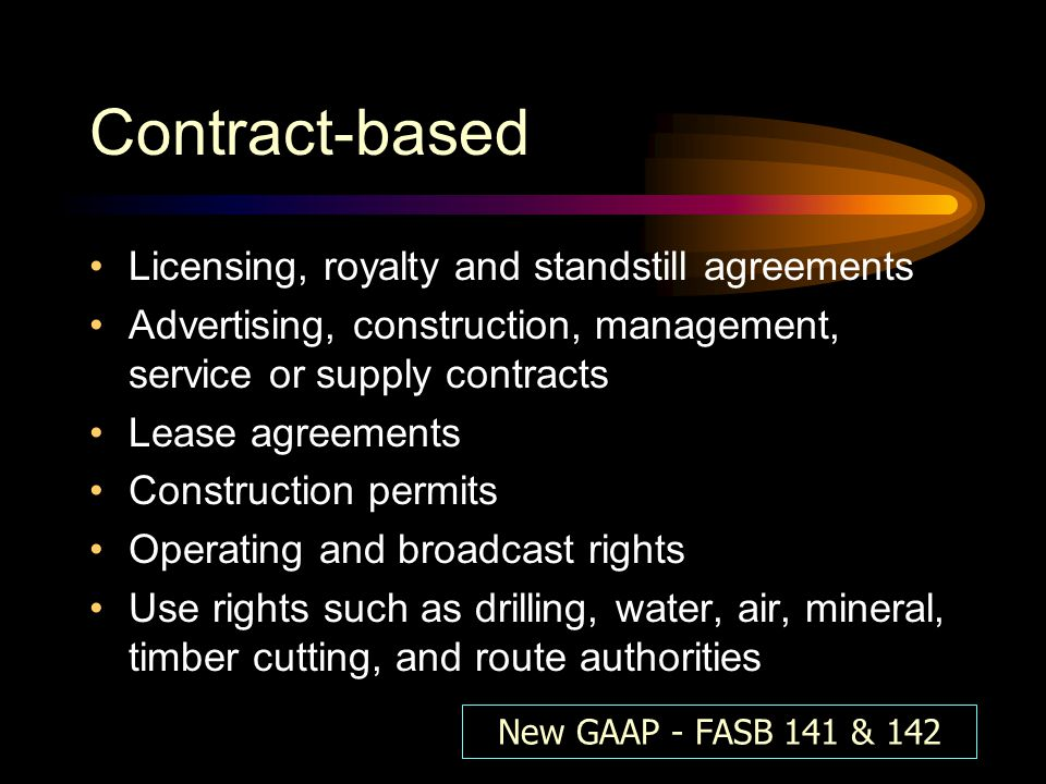 Contract-based Licensing, royalty and standstill agreements