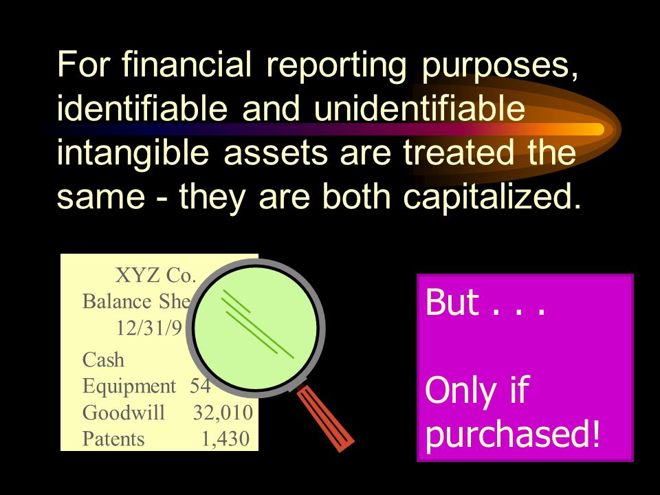For financial reporting purposes, identifiable and unidentifiable intangible assets are treated the same - they are both capitalized.