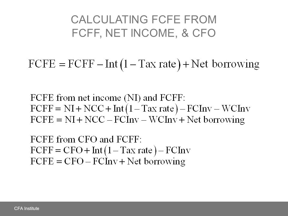 Calculating FCFE from FCFF, Net Income, & CFO