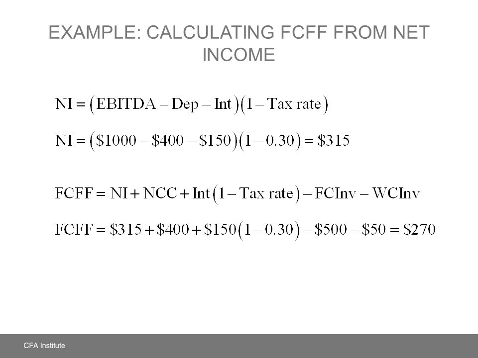 Example: Calculating FCFF from Net Income